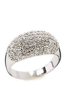 New Directions® Silver Tone Crystal Pave Dome Ring