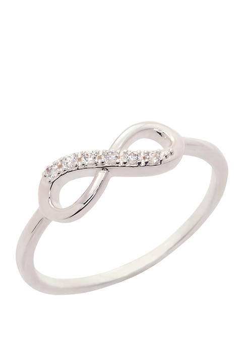 Boxed Cubic Zirconia Pave Infinity Silver Ring