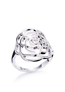 Silver-Tone Flower Ring