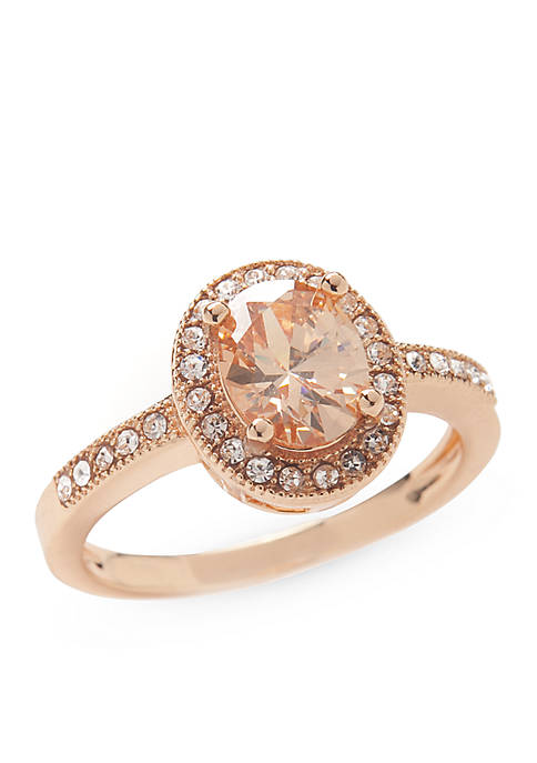 New Directions® Rose Gold-Tone Champagne Halo Boxed Ring