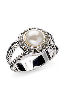 Silver-Tone Glass Pearl Boxed Ring