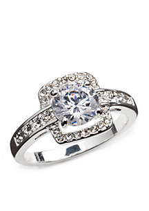 Silver-Tone Cubic Zirconia Engagement Boxed Ring