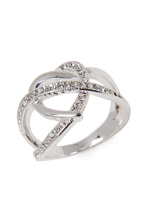 Silver-Tone Crystal Heart Boxed Ring