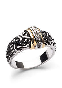 Two-Tone Antique Cubic Zirconia Band Boxed Ring