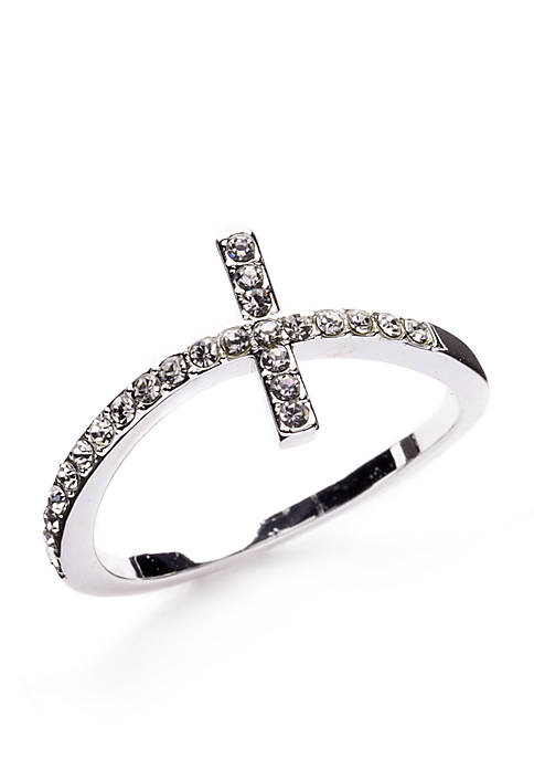 Silver-Tone Crystal Cross Boxed Ring