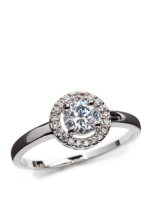 Silver-Tone Cubic Zirconia Solitaire Boxed Ring
