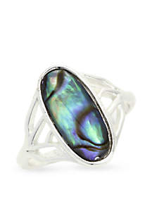 Silver-Tone Abalone Boxed Ring