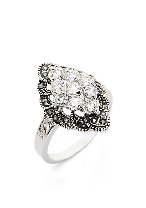 Silver-Tone Marquise Cluster Boxed Ring