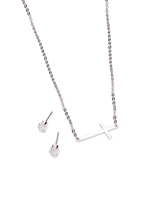 New Directions® Silver-Tone Cross Pendant Necklace and Cubic