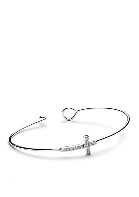New Directions® Silver-Tone Crystal Cross Bangle Boxed Bracelet