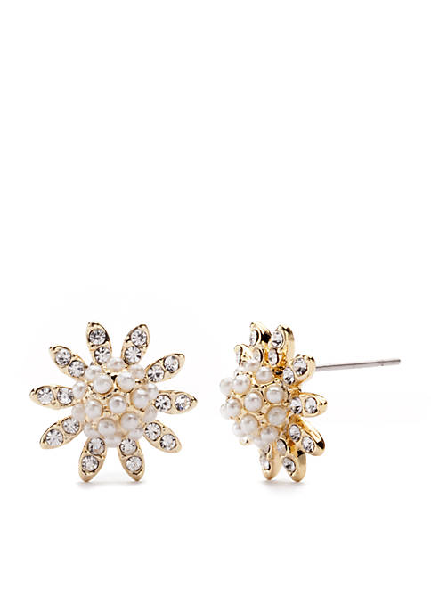 Gold-Tone Crystal Pearl Flower Button Boxed Earrings