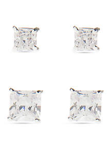 Boxed Square Stud Cubic Zirconia Duo Earring Set