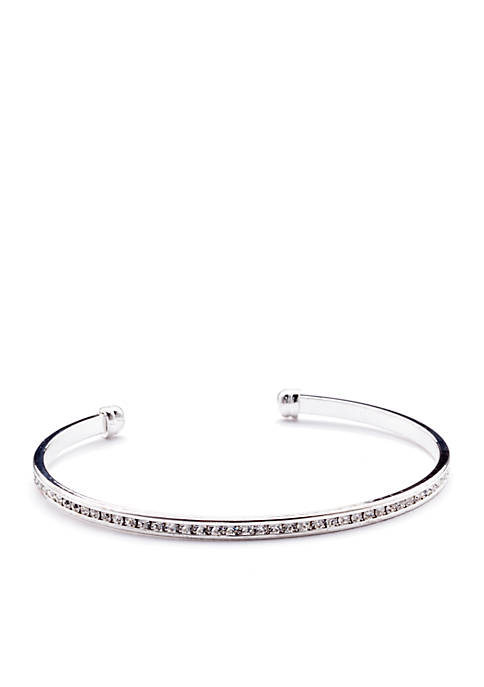 New Directions® Silver-Tone Crystal Eternity Bangle Boxed