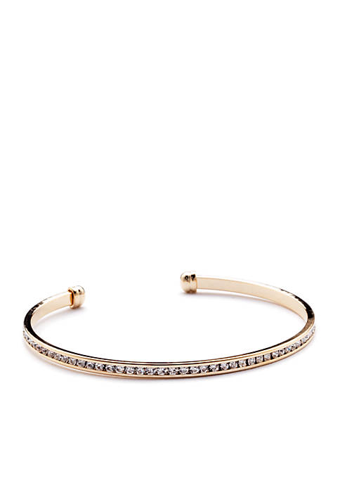 New Directions® Gold-Tone Crystal Eternity Bangle Boxed Bracelet