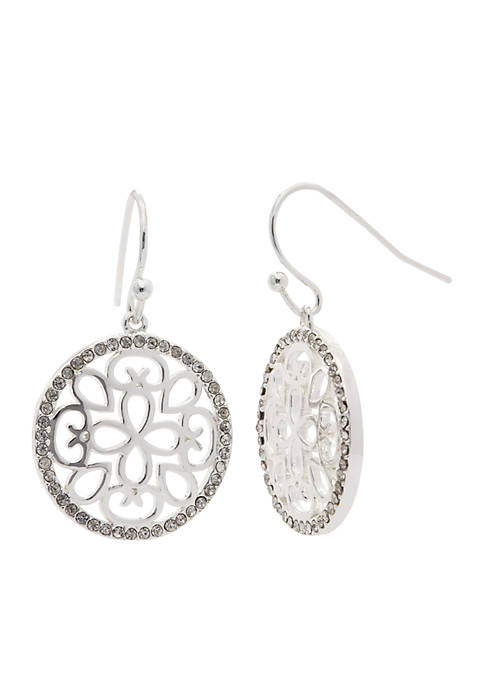 New Directions® Silver-Tone Boxed Cubic Zirconia Filigree Circle