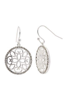 Silver-Tone Boxed Cubic Zirconia Filigree Circle Drop Earrings