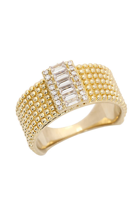 Gold-Tone Club Havana Cubic Zirconia Wide Band Boxed Ring