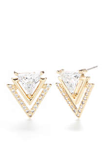 Gold-Tone Cubic Zirconia Triangle Earrings