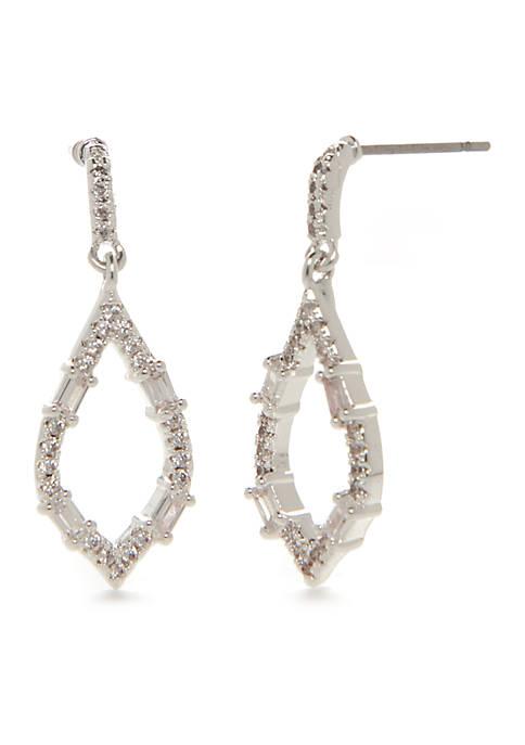 Belk Boxed Silver Cubic Zirconia Open Drop Earring