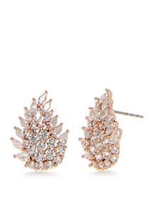 Rose Gold Multi-Stone Leaf Cubic Zirconia Earrings