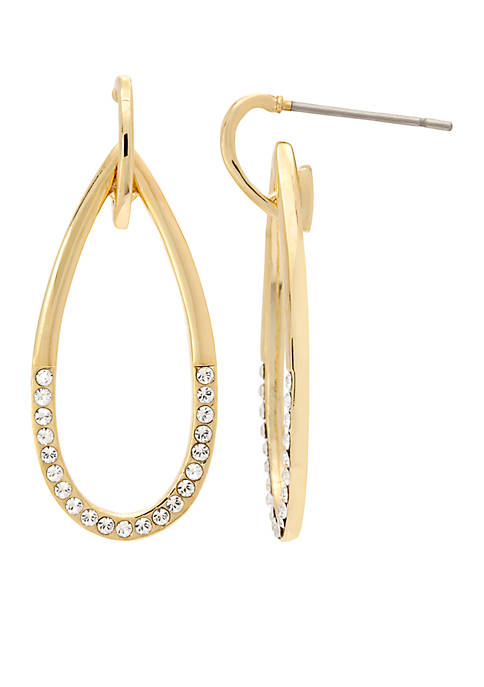 New Directions® Gold-Tone Crystal Open Drop Earrings
