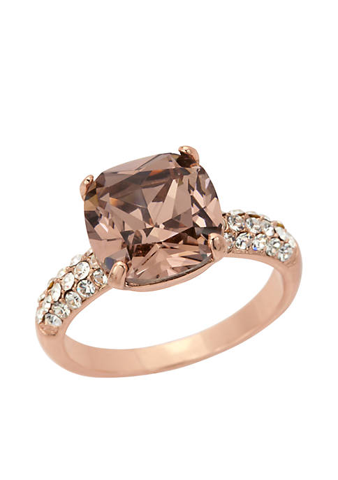 Rose Gold-Tone Crystal Cushion Cut Pave Box Ring