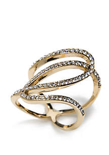 Gold-Tone Crystal Twist Band Ring