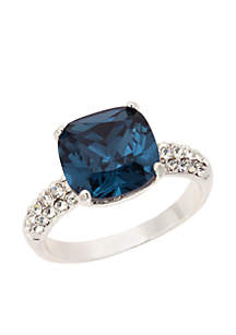 New Directions® Blue Silver Tone Cushion Cut Pave Band Box Ring