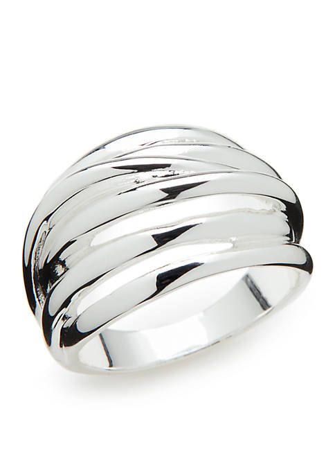 Silver-Tone Textured Band Ring