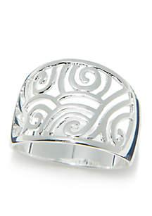 Silver-Tone Filigree Ring