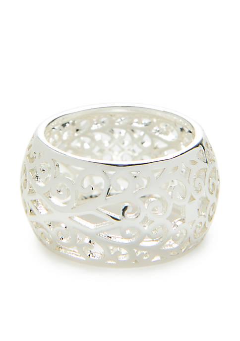 Silver Tone Filigree Band Ring