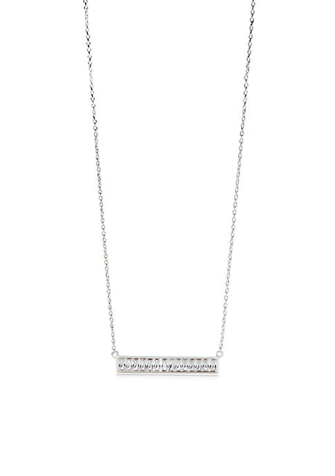 Silver-Tone Boxed Pendant Crystal Bar Necklace