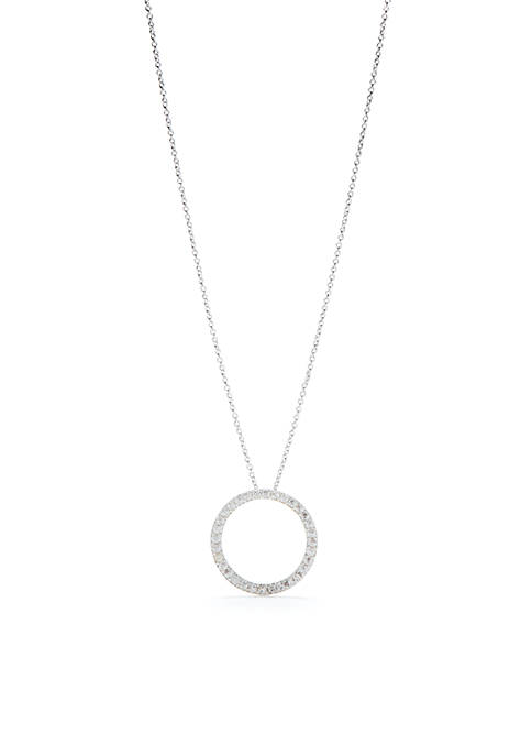 Silver-Tone Pace Cubic Zirconia Circle Necklace
