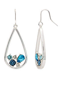Silver Tone Multi Crystal Drop Earrings