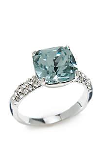 Silver-Tone Cushion Cut Crystal Ring