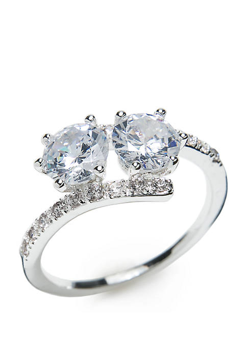 Boxed Cubic Zirconia Pave Round Ring