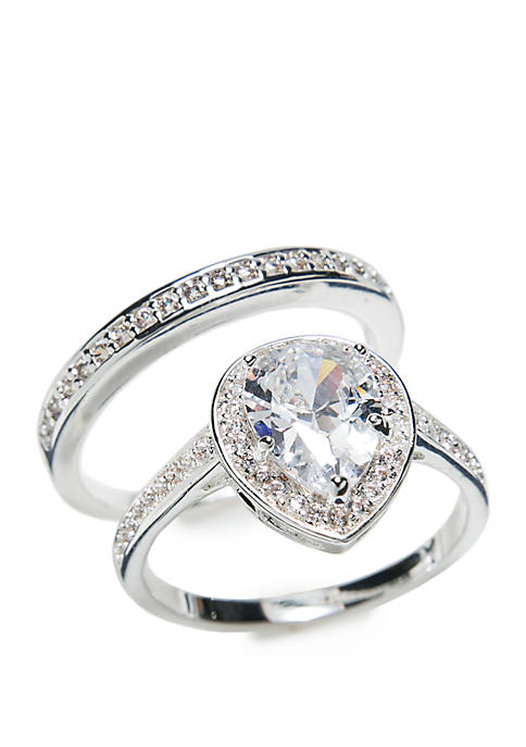 Boxed Cubic Zirconia Pave Pear Stone Ring Set