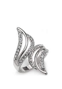 Silver-Tone Open Wrap Cubic Zirconia Ring