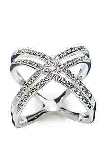 Silver-Tone Cluster Pave Double Band Ring