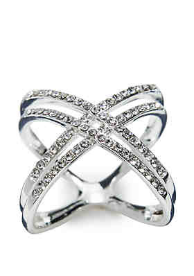 80ae5488ab New Directions® Silver-Tone Cluster Pave Double Band Ring ...