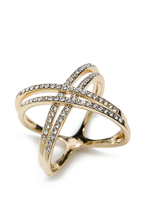Gold-Tone Cluster Pave Double Band Ring