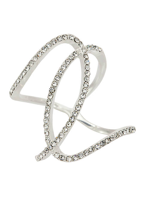 Silver-Tone Pave Crystal Twisted Band Ring