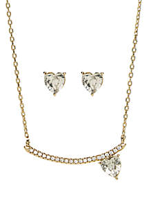 Boxed Gold-Tone Pave Crystal Heart Bar Necklace and Cubic Zirconia Stud Set