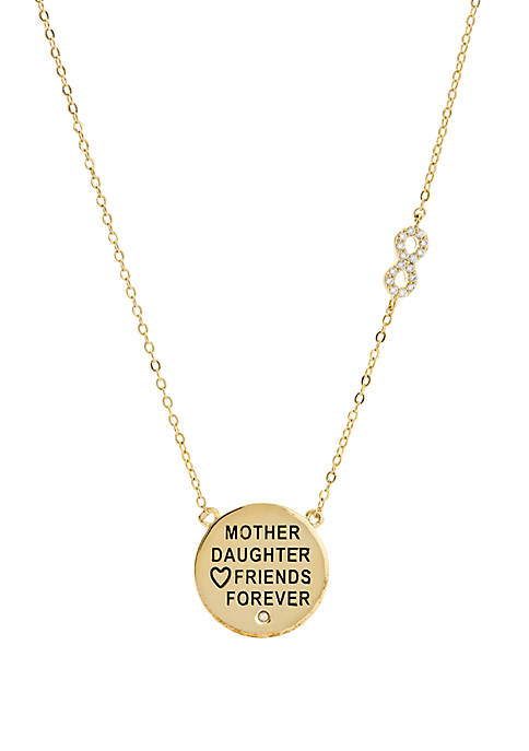 Belk Gold-Tone Cubic Zirconia Mother and Daughter Necklace