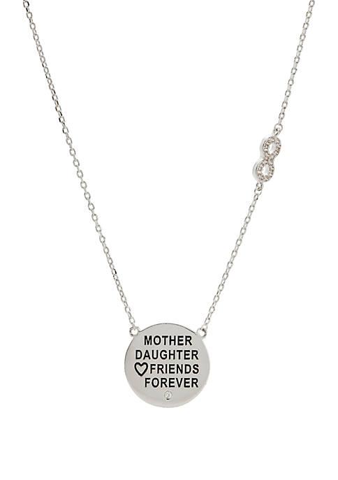 Belk Silver-Tone Cubic Zirconia Mother and Daughter Pendant