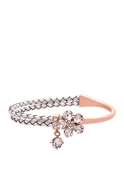 Rose Gold Tone Crystal Flower Bracelet