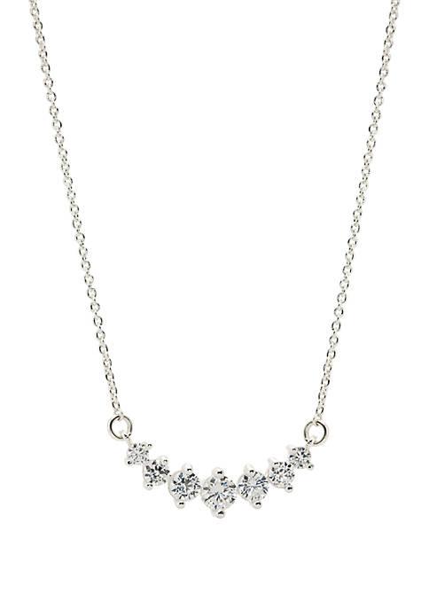 Silver Tone Multi Cubic Zirconia Pendant Necklace