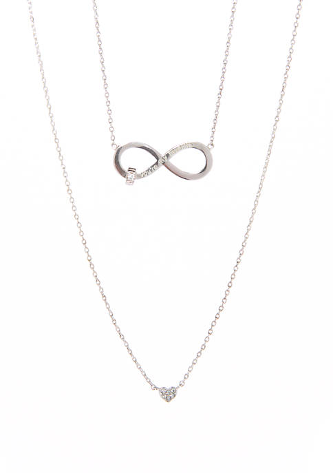Belk Boxed Silver Tone Cubic Zirconia and Infinity