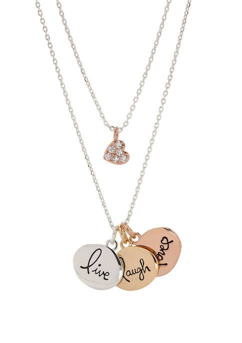 Belk Crystal Duo Live Laugh Necklace