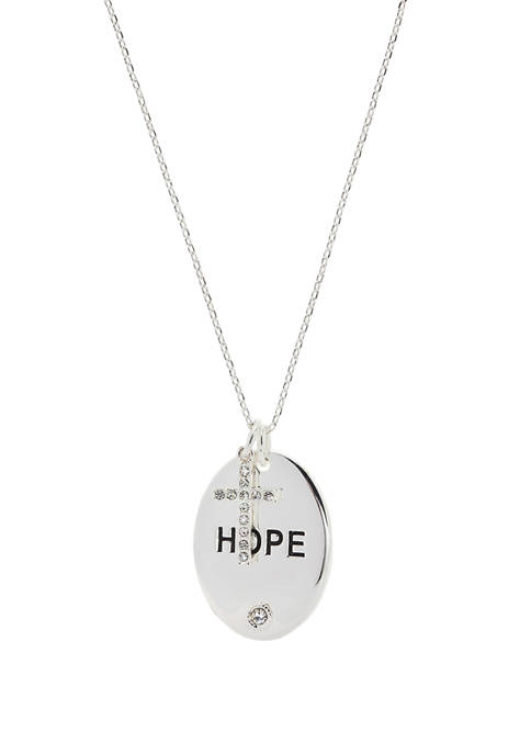 Cubic Zirconia Crystal Hope Oval Pendant Necklace